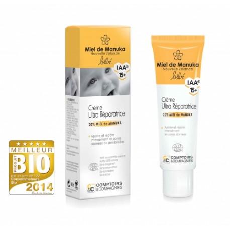Crème ultra-réparatrice bébé certifiée bio 20% miel de manuka IAA15+